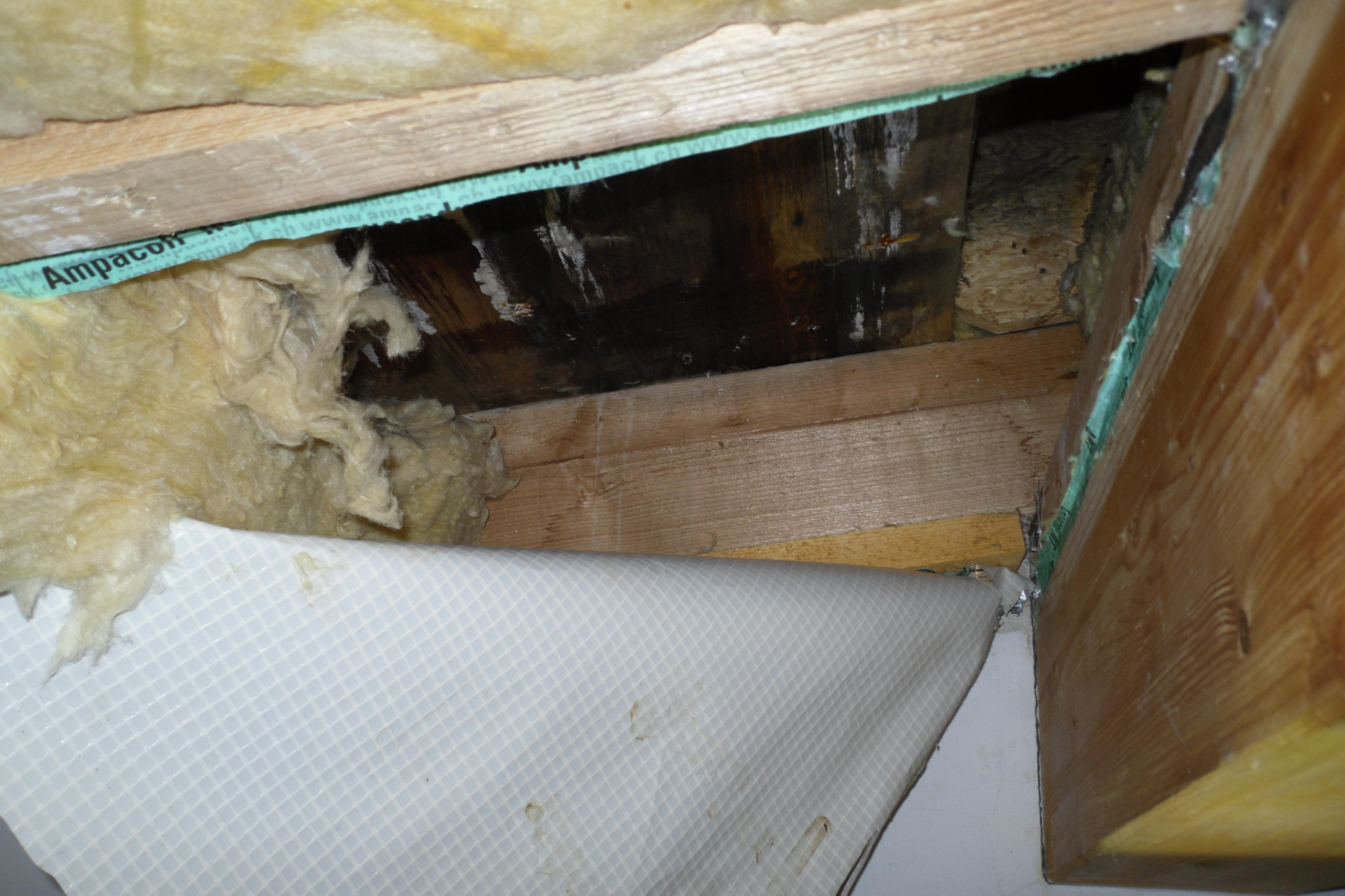 Öffnung einer Dachkonstruktonsunterseite